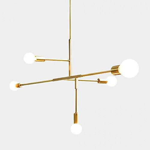 Modern Metall Anhänger Lighting Hängelampe Deckenleuchte Kronleuchter mit 5Lichtern gold finish Bestandteil Flush Mount