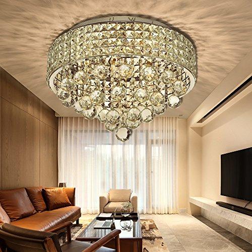 N3 Lighting Lüster Kristall Deckenleuchte - Modern Design Kronleuchter - Anhänger Kristallkronleuchter Ø40cm Für Wohnzimmer, Esszimmer, Treppenhaus, Korridor, 6 x G9 Sockel