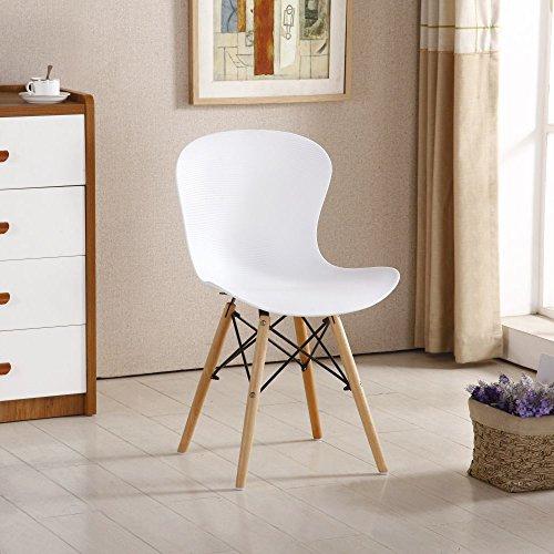P & N Homewares® Alessia Eiffel Stuhl aus Kunststoff Gerippter Retro Weiß Schwarz Grau Rot Gelb Pink Grün Blau weiß