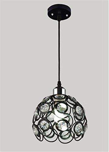 TRADE® Schwarz Kristall Kronleuchter, Metall Hohl Pendelleuchte mit 1 E27 Birne Steckdosen Modern Dekor Deckenleuchte für Esszimmer Flur
