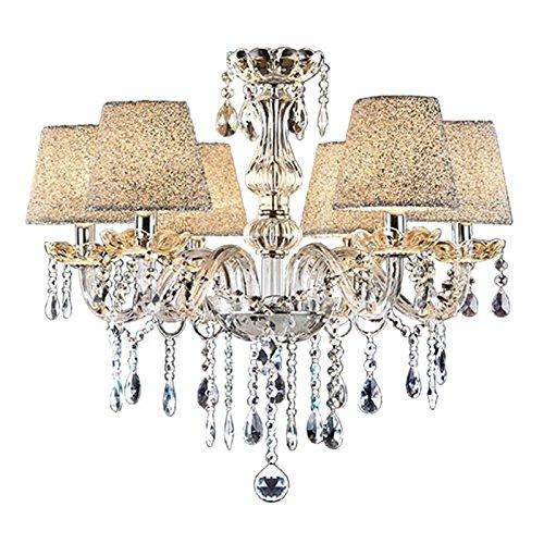 VINGO® 6-flammig Kronleuchter Kristall Hängeleuchte Klassisch Pendelleuchte Deckenleuchte Anhänger der Licht antik Lüster Warmweiß