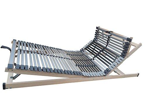 7 Zonen Lattenrost MediBalance, 44 Federholzleisten, Mittelgurt, verstellbarer Sitz- und Schlafkomfortrahmen 100x200 cm
