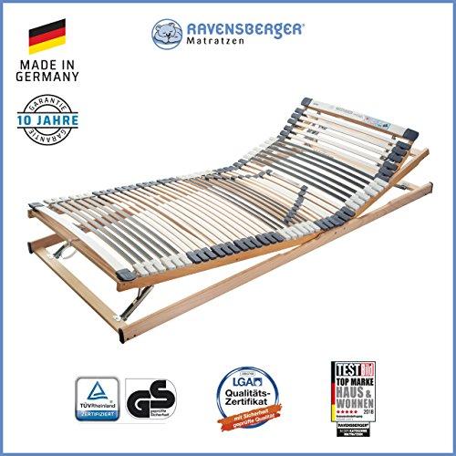 Ravensberger Matratzen Medimed Lattenrost   7-Zonen-Buche-Lattenrahmen   44 Leisten  verstellbar  MADE IN GERMANY - 10 JAHRE GARANTIE   TÜV/GS 100x200 cm