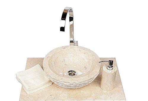Wohnfreuden Marmor Waschbecken 33 cm creme ✓ rund aussen gehämmert ✓ ideal als Steinwaschbecken oder Naturstein Aufsatzwaschbecken für Bad Gäste WC ✓ schnell & versandkostenfrei ✓