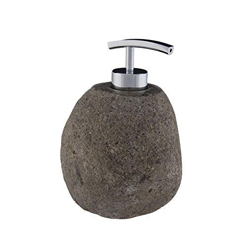Wohnfreuden Naturstein Seifenspender aus Flusskiesel poliert ✓ ca. 15 cm hoch ✓ ideal für Flüssigseife ✓ Dekoration für Naturstein Waschbecken aus Granit Kiesel ✓