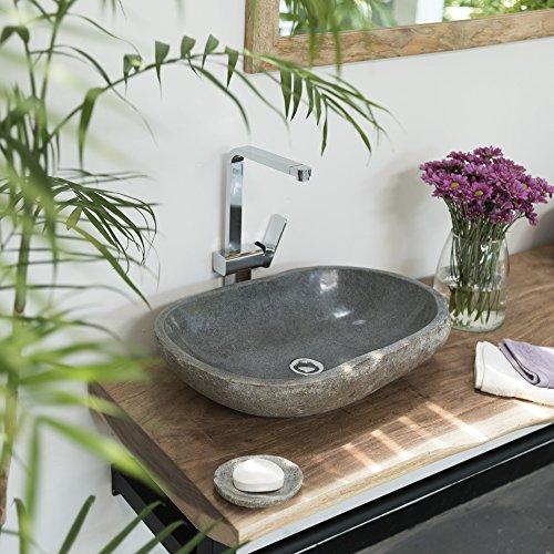 Wohnfreuden Naturstein Waschbecken Stein Waschbecken oval 60 cm für Waschtisch Unterschrank im Gäste WC Bad | Versandkostenfrei ✓
