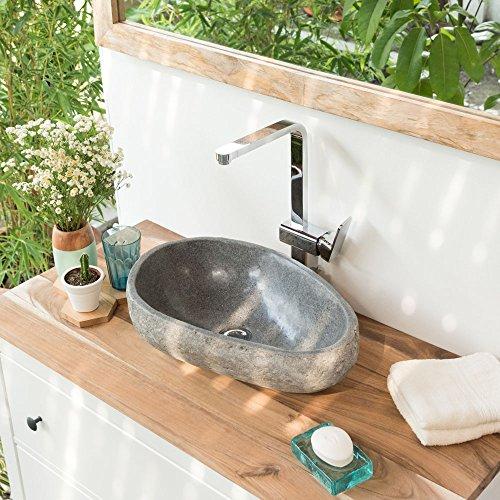 Wohnfreuden Naturstein - Waschbecken Steinwaschbecken aus Flussstein in 40 cm Länge Oval Natur | Waschbecken aus Stein | Versandkostenfrei ✓