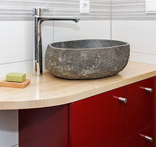 Wohnfreuden Stein - Waschbecken Steinwaschbecken 40 cm aussen natur aus Flussstein für Waschtisch mit Unterschrank | Versandkostenfrei ✓