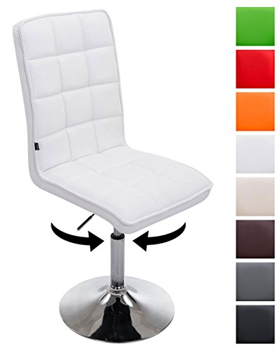 CLP Esszimmerstuhl Peking V2 mit Hochwertiger Polsterung und Kunstlederbezug I Drehbarer und höhenverstellbarer Lehnstuhl I in Verschiedenen Farben erhältlich Weiß