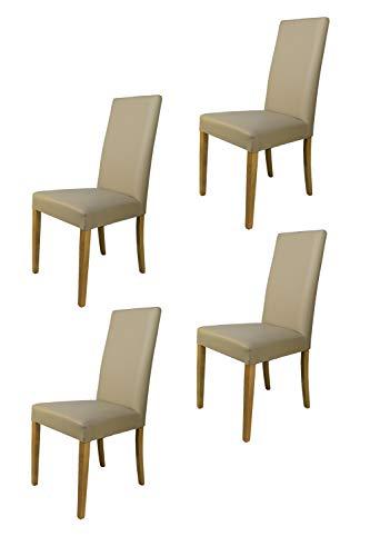 Tommychairs - 4er Set Stühle GINEVRA Robuste Struktur aus lackiertem Buchenholz, Farbe Eiche, Gepolstert und mit Kunstleder in der Farbe Leinen bezogen