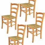 Tommychairs - 4er Set Stühle Venice für Küche und Esszimmer, robuste Struktur aus lackiertem Buchenholz im Farbton Honig und Sitzfläche aus Stroh. Set bestehend aus 4 Stühlen Venice